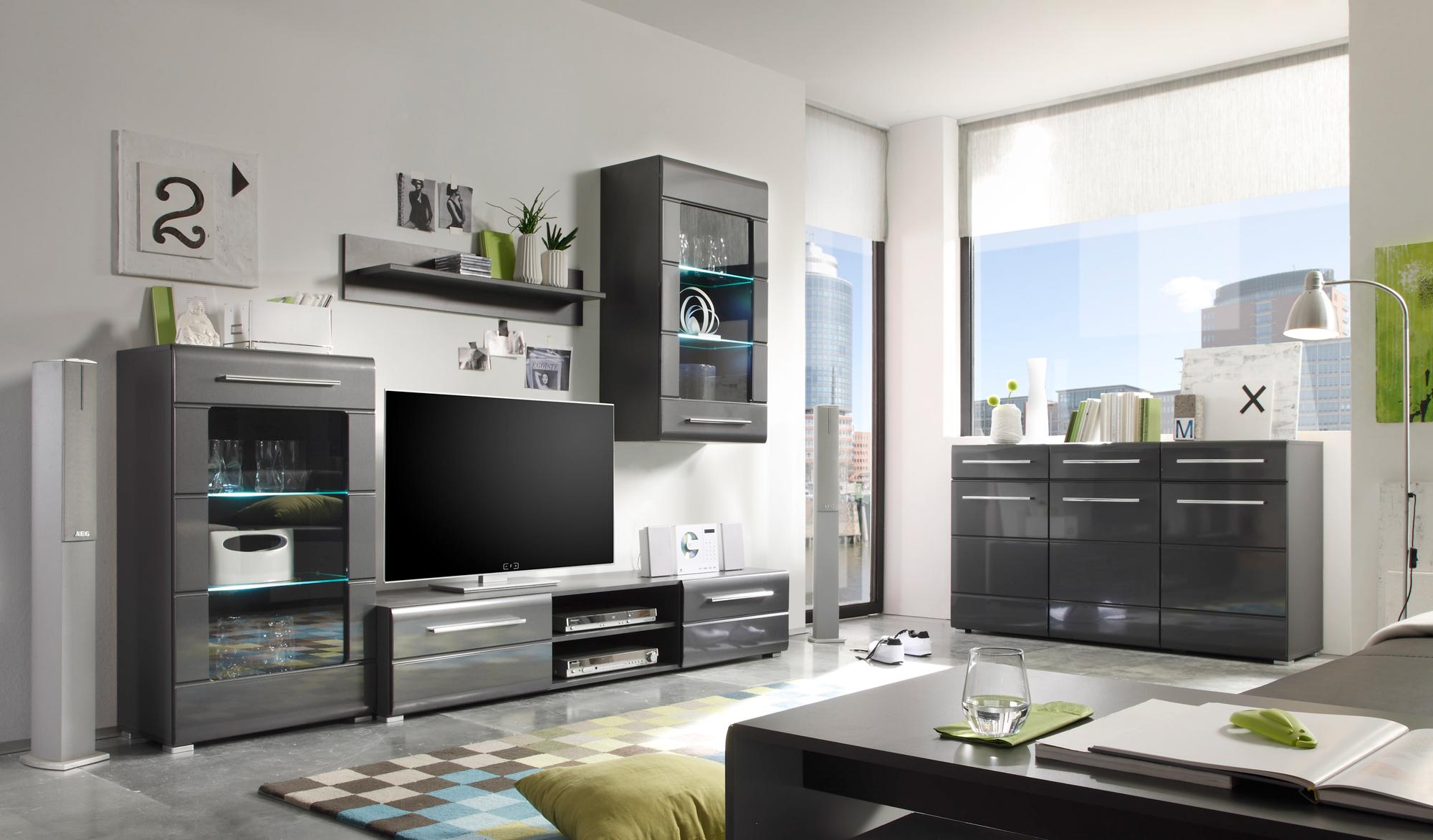 Wohnwand Chrome 1   Möbel Preiss