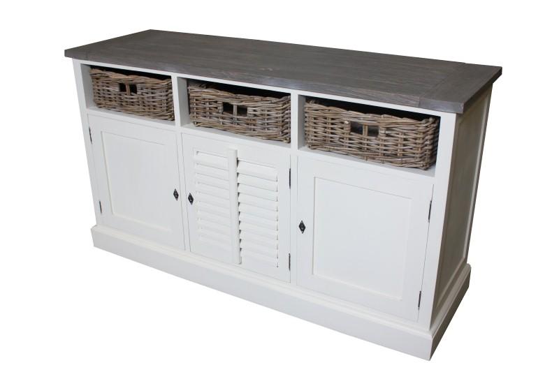 Kommode Schrank Sideboard Landhaus Stil Regal Weiß mit sechs Körben in Weiß Grau